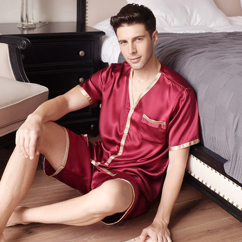 Summer New Men Pyjama Sets Silk Sleepwear Short sleeve short pants Male 100% Mulberry Silk Two Piece Pajamas Sets Free Shipping