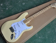 Hot sell good quality Milk Yellow electric guitar scalloped fingerboard bighead basswood body standard size(China)