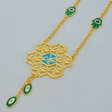 44cm + 4cm,Muhammad Necklaces Women,Gold Color Arab Evil of Eyes & Hamsa Hand Muslim Islamic Jewelry Hamesh #046511