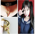 Japanese Harajuku street shooting soft punk girl anime Sailor moon and stars stick holding collar necklace