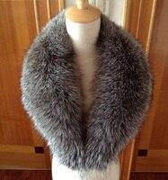 Женские зимние Роскошные, богатые silver fox меховой шарф шаль neckal воротник шаль с зажимами серое пальто куртка украшения