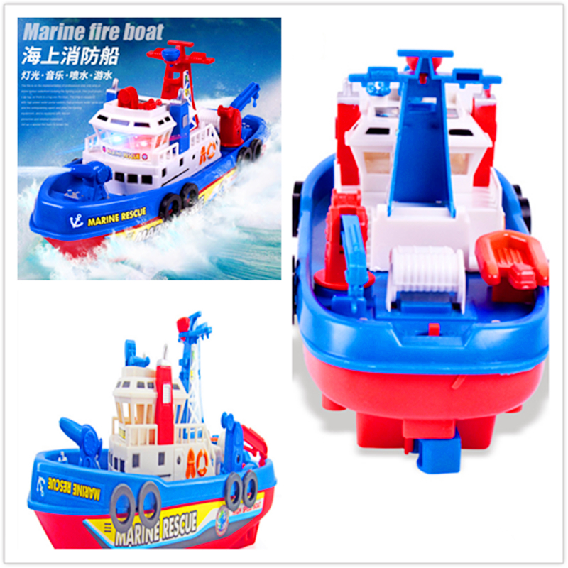 Creative Children's Electric Fire Boat Toy Music Luminous Water Spray Model Toy Boat  Vocal Toys Pools  Water Fun Pool Rafts