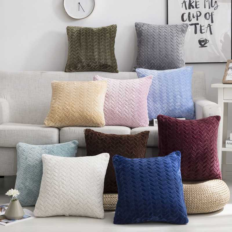 7a5355bd25a2 Nordic Style Plush Pillow Cover Solid Color Soft Warm Fur Cushion Cover  Home Decorative Pillows Case