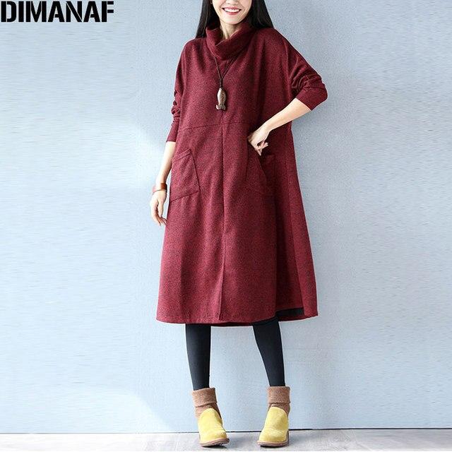 a13be2d6f DIMANAF Vestido Mulheres Outono Sólida Cashmere de Gola Alta Moda Casual  Solto Lady Big Size Feminino