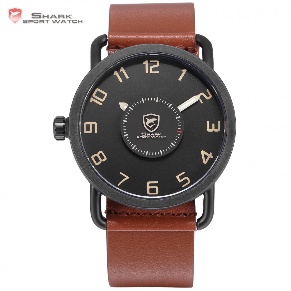 Caribbean Rough Shark Sport Watch Turntable Second Hand Fashion Brown Leather Band Quartz Relojes Hombre Creative