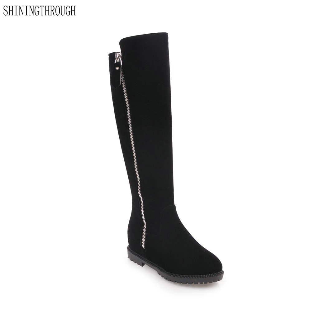 SHININGTHROUGH Women Riding Boots Thick Heels Knee High Boots Autumn Female Long Boots Large Size 34-43 Winter Ladies Shoes shiningthrough size 33 43 winter women boots thick high heels round toe platform shoes solid pu leather mid calf boots