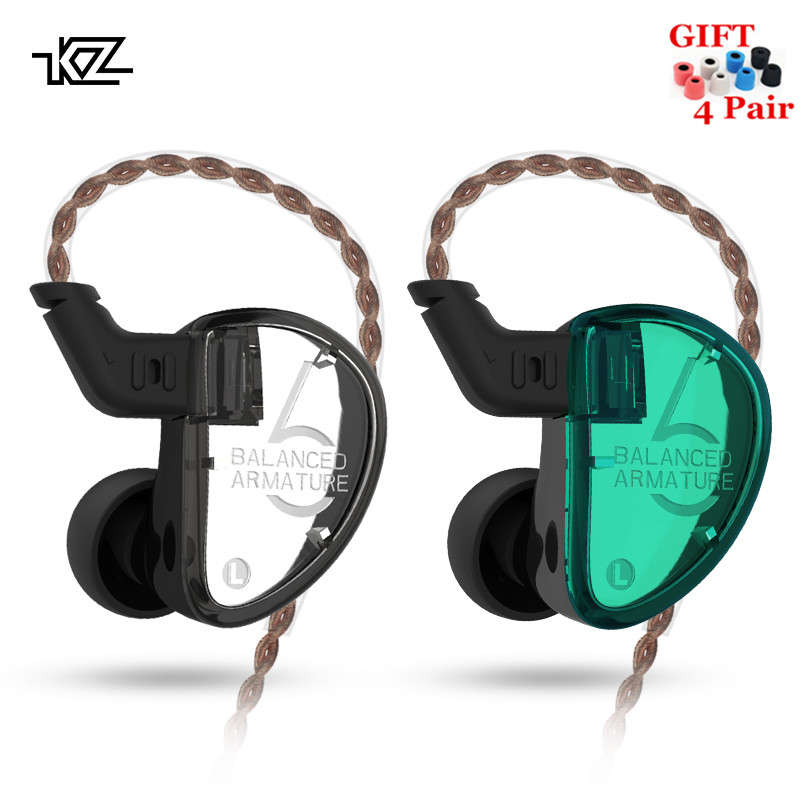 KZ AS06 3BA Balanced Armature In Ear Earphone HIFI Running Sport Earphones Earplug Headset KZ ZS10