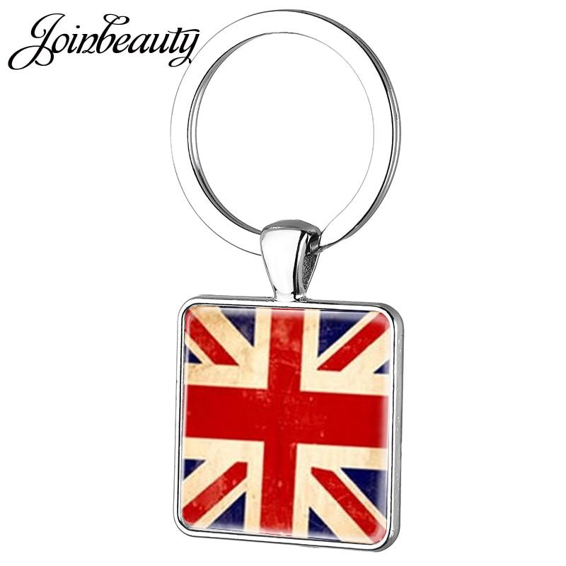 JOINBEAUTY Vintage Union Jack Keychain England Banner Great Britain United Kingdom Flag Women UK Flag Key Chain Jewelry AA102
