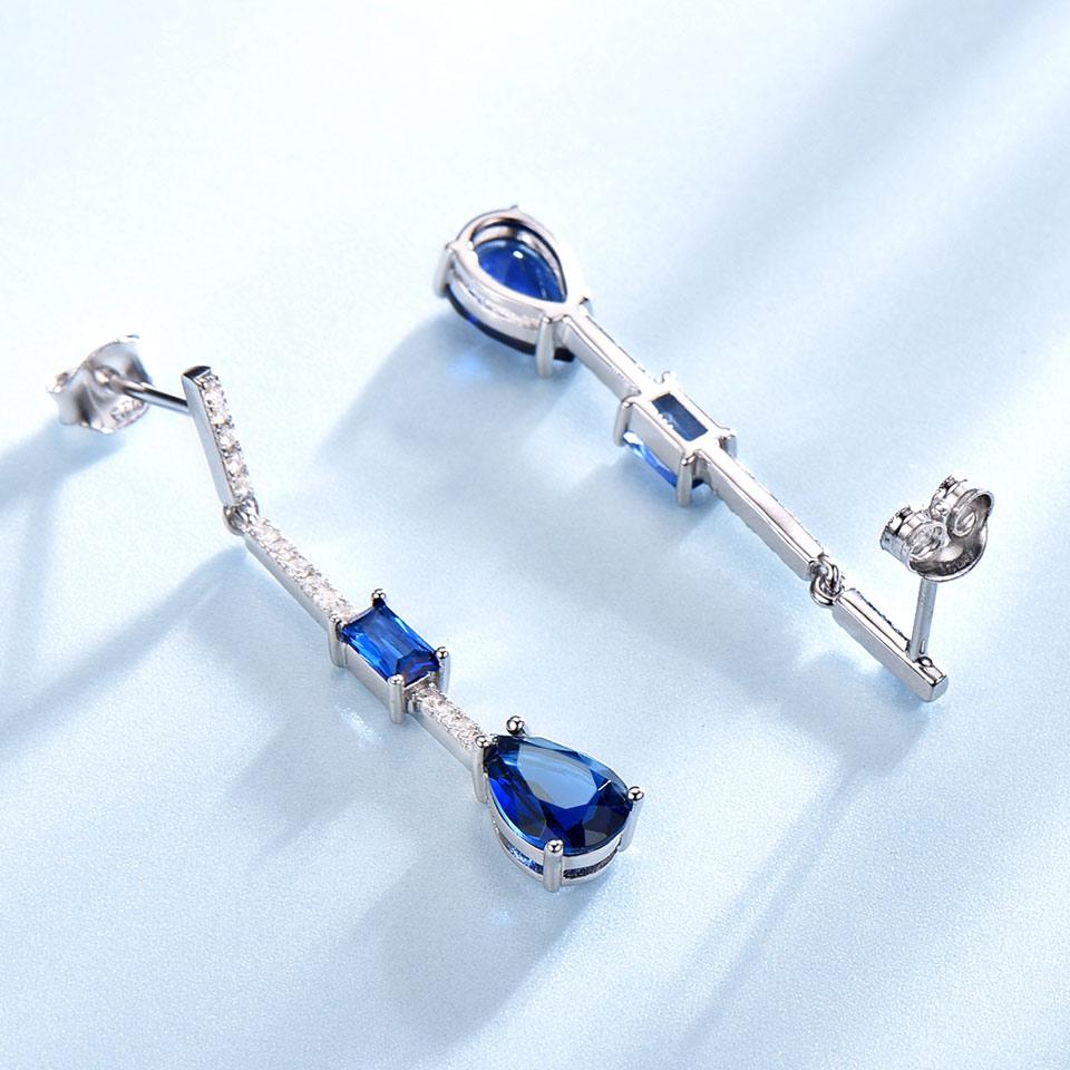 UMCHO Pure 925 Sterling Silver Drop Earrings For Women Blue Sapphire Earrings Gemstone Wedding Engagement Party Jewelry