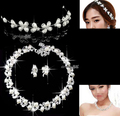 New arrival faux pearl headpieces hair jewelry wedding crystal necklace earrings tiara bridal jewelry set 1set/lot wholesale