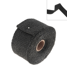 1PC 5m x 50mm Motorcycle Exhaust Front Pipe Tape Anti-hot Wrap Heat Insulation Cloth Roll with 4 Stainless Fixed Ties for Cars