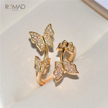 Romad 925 Sterling Silver Ring AAA Cubic Zircon Crystal Butterfly Rings For Women Jewelry Open Adjustable Finger Ring Gift romad women fashion jewelry multicolor crystal ring with aaa cubic zircon wedding ring