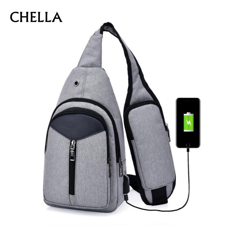 Anti Theft Men Backpack Canvas USB Rechargeable Chest Bag Headphone Hole Teenager Single Shoulder Boy Bag Sac A Dos Homme BP0212 цена 2017