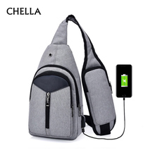Anti Theft Men Backpack Canvas USB Rechargeable Chest Bag He