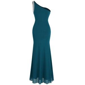 Image 2 - فستان سهرة ثنيات كتف واحد مطرز بالخرز من Angel fashions فستان سهرة vestido de noiva 411 أخضر