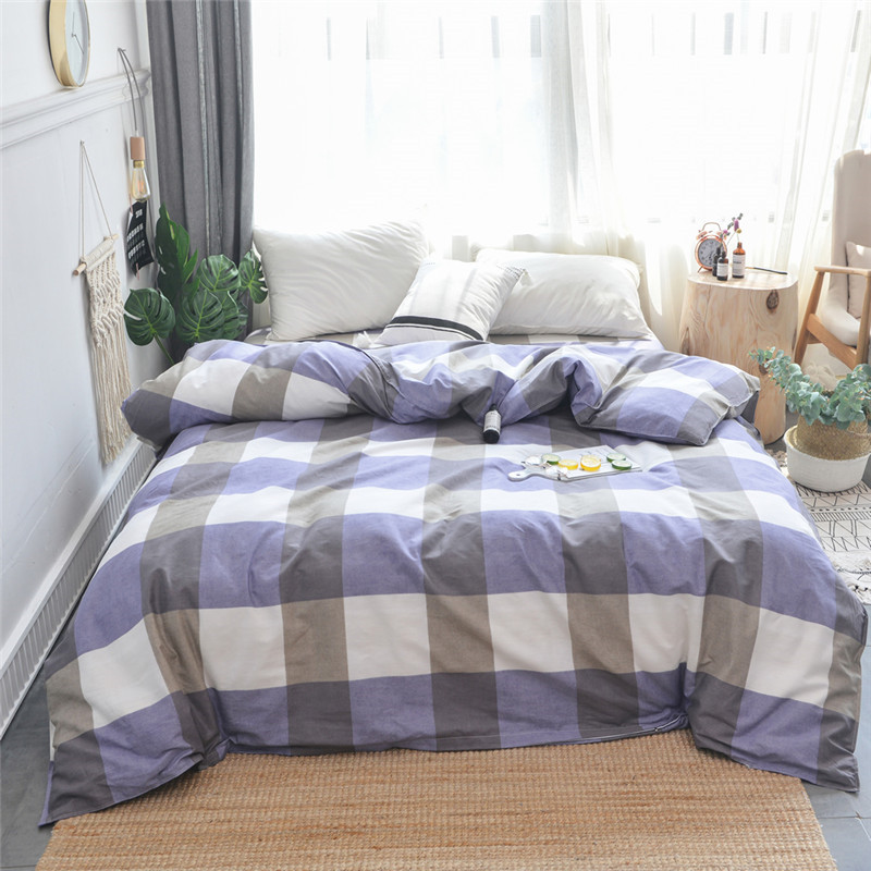 Purple Gray Plaid Pattern Single Duvet Cover King Queen