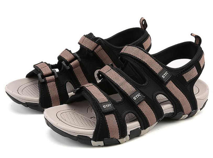 Summer Men Sandals Hook&loop Men's Summer Shoes 2018 Fashion Waterproof Casual Beach Shoes Size:39-44 Black 5