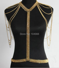 NEW ARRIVALS STYLE B523 WOMEN FASHION GOLD EIGHT CHAINS SHOULDER JEWELRY SEXY BODY JEWELRY