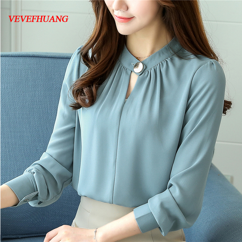 New Fall Fashion Korean Women Long-Sleeved Chiffon Blouse Ol Work Wear Top Ladies Loose Chiffon Shirt