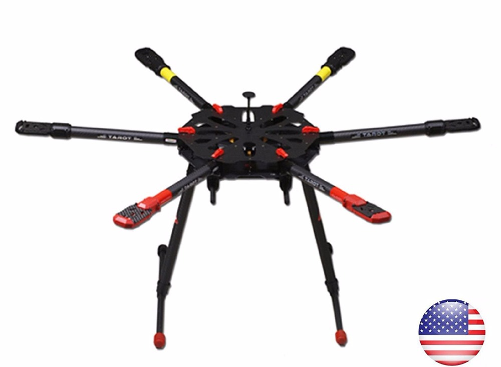 Weyland Tarot X6 Pure Carbon 960mm Hexacopter with Retracts 6-Axis PCB Center Plate Folding Frame Kit FPV RC Drone TL6X001 weyland tarot 650 sport carbon quadcopter frame with electric folding landing gear airplane drone fpv kit tl65s01 free shipping