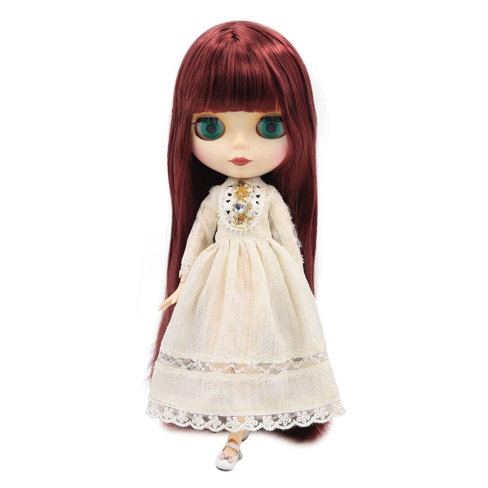 Blyth doll factory No.280BL12532New vin rouge romantique doux long cheveux raides peau blanche givré visage joint corps 1/6 BJD poupées-in Poupées from Jeux et loisirs    1