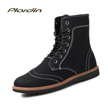 Plardin Men Genuine Leather Boots Winter Snow Boots Fashion Platform Carved Oxford Men Shoes Cow Split Boots shoes men flats