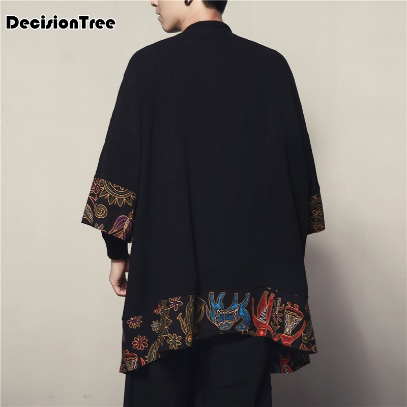 2019 Men Cotton Linen Cardigan Jacket Chinese Style Male Fashion Casual Loose Windbreaker Kimono Shawl Outerwear Coat in Jackets from Men 39 s Clothing