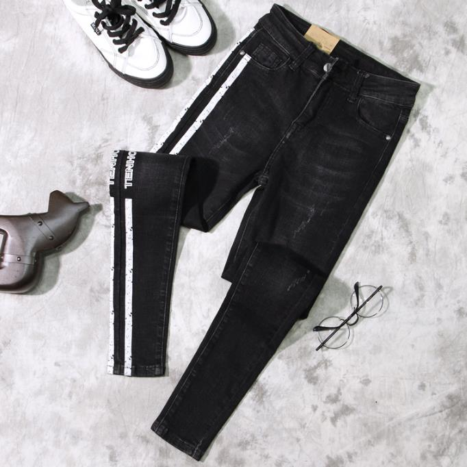 2018 spring autumn Smoke gray high waist slim jeanss
