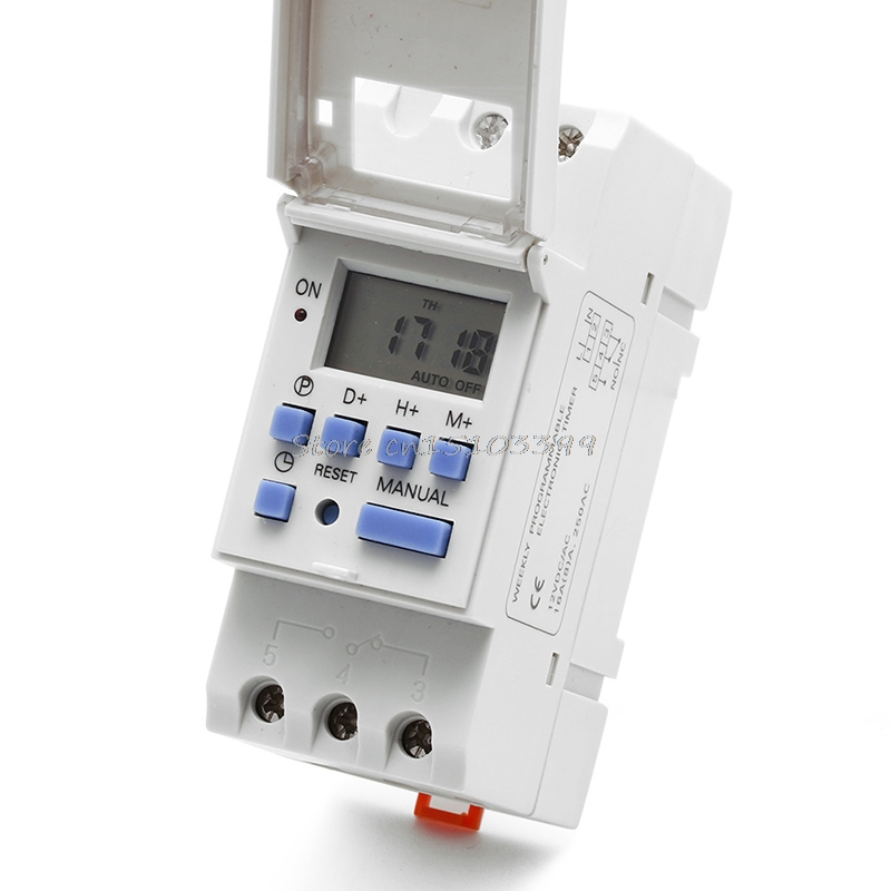 New Digital LCD Programmable Timer 12V DC DIN Rail Time Relay Switch Power #G205M# Best Quality new din rail time relay switch digital lcd power programmable timer dc 12v