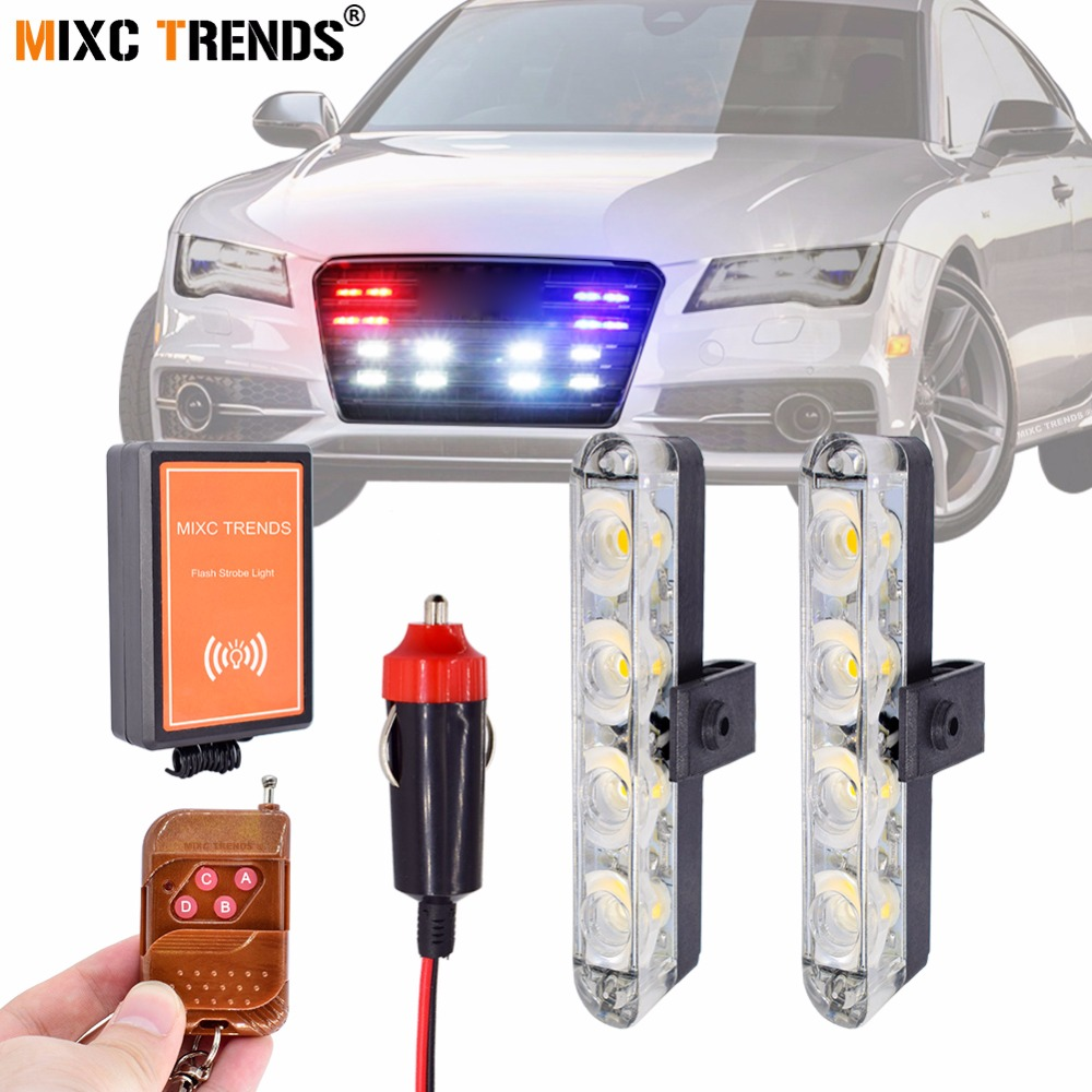 Remote Control Warning Strobe Car Lights 2Pcs 4LEDs 12Volt LED Light Dash Emergency Flashing Ambulance Police light Flash