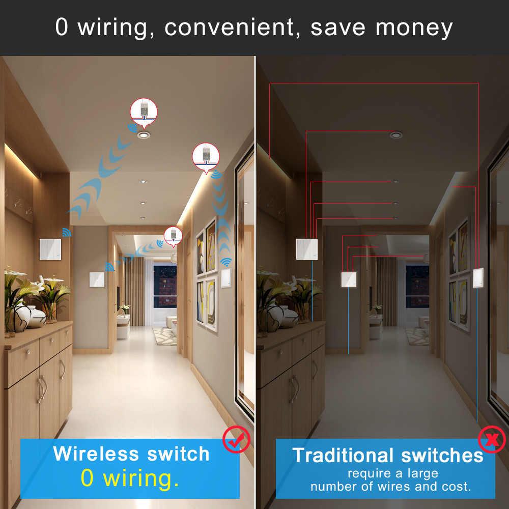 Interrupteur de lumière sans fil interrupteurs de lumière à distance étanche 110V 220 V-pas de câblage télécommande plafonniers ampoule LED