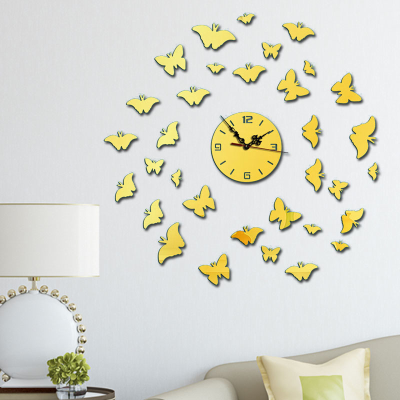 DIY Electronic Wall Clock Vintage Wall Clock For Living Room DIY Mirror Clocks Modern Watch Modern Design Clocks For Home Decor in Wall Clocks from Home Garden
