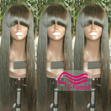 Brazilian Full Lace Human Hair Wigs For Black Women Straight Glueless Lace Front Human Hair Wigs Virgin Full Lace Wig With Bangs