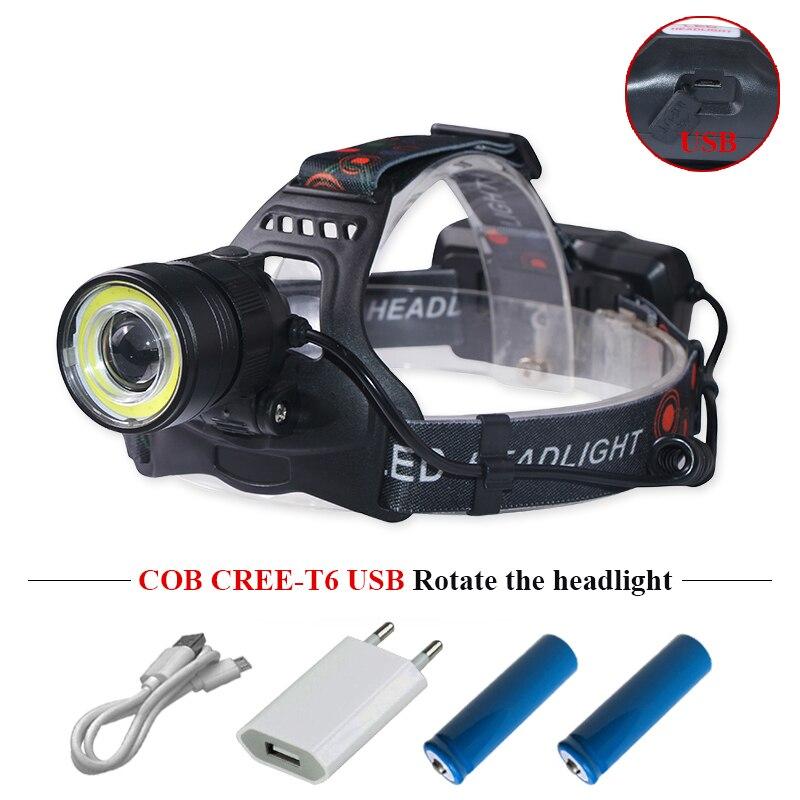 Usb led-scheinwerfer scheinwerfer cree xml t6 cob kopf taschenlampe scheinwerfer super helle wasserdichte stirnlampe stirnlampe