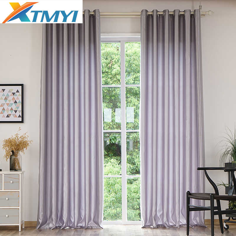 Modern Solid Color Blackout Curtains for Living Room Gray/red/purple/golden window curtains for bedroom kids