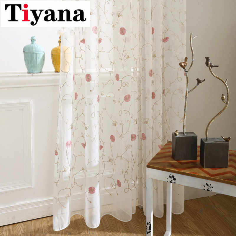 Tiyana Rustic White Bottom Color Red Flower Pattern Sheer Tulle Cloth Curtains For Bedroom Living Room Kitchen Pink Yarn P400D2