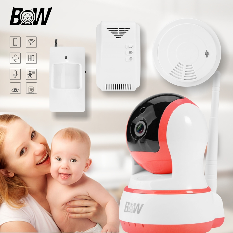 WiFi IP Camera Security Protection +Infrared Motion Sensor/Smoke/Gas Detector Baby Monitor Alarm Wireless IP Camera BW13P wireless security camera wifi motion sensor ip baby monitor door sensor gas detector video surveillance alarm system bw12y