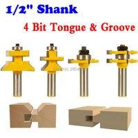 4 Bit Tongue Groove And V Notch Router Bit Set 1 2 Shank CHWJW 15423