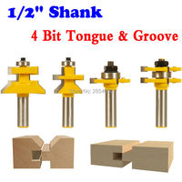 4 Bit Tongue Groove And V Notch Router Bit Set 1 2 Shank CHWJW 15423