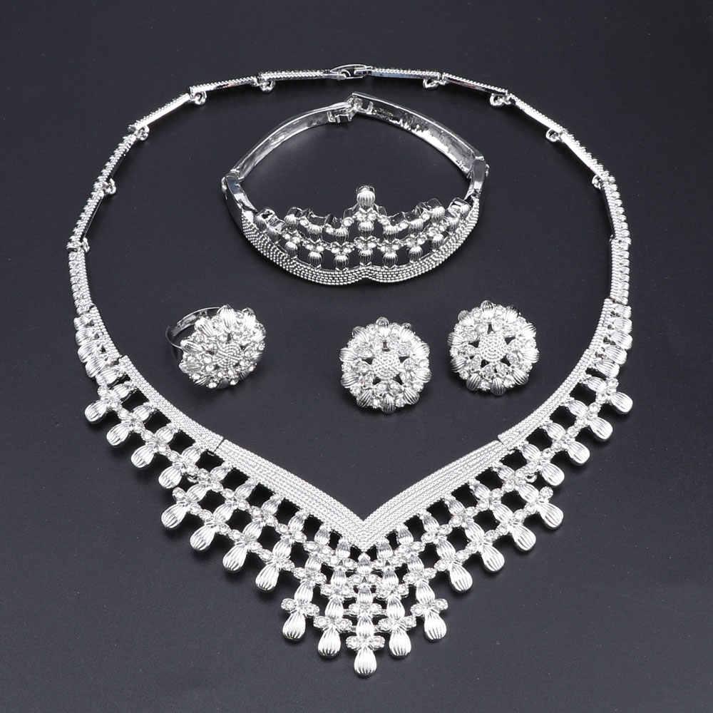 Африканские бусины комплект ювелирных изделий, нигерийский свадьбный золото Цвет с украшением в виде кристаллов Цепочки и ожерелья Ювелирные наборы для Для женщин Роскошные ювелирные комплекты Dubai