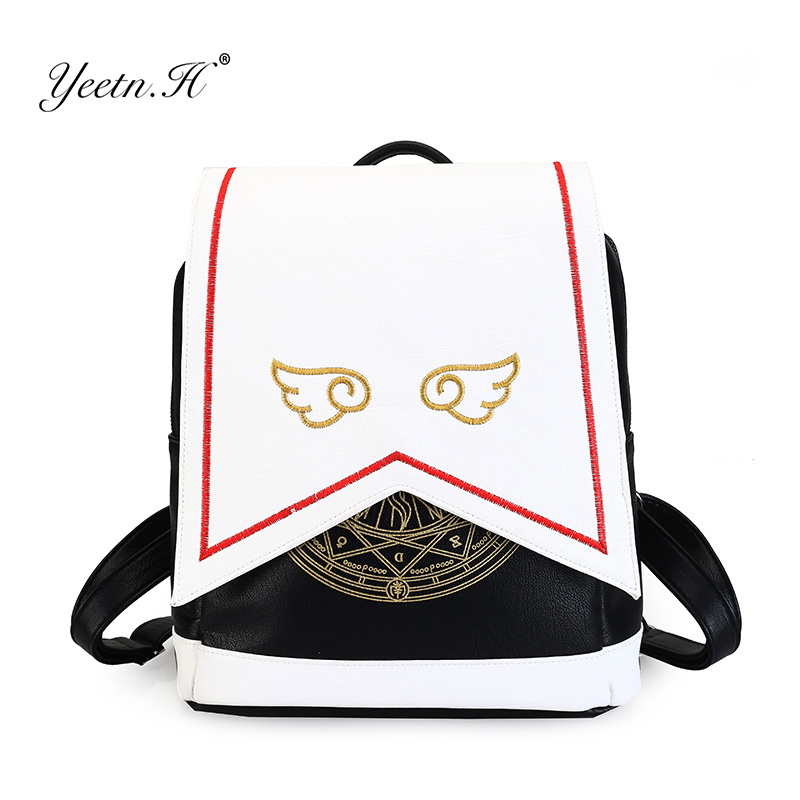Yeetn.H Anime Card Captor Backpack Cardcaptor Sakura Printing School Bags Lolita Women Backpack With Angel Wings Y946 new card captor sakura printing backpack kawaii women shoulder bags sakura laptop backpack canvas school bags for teenage girls