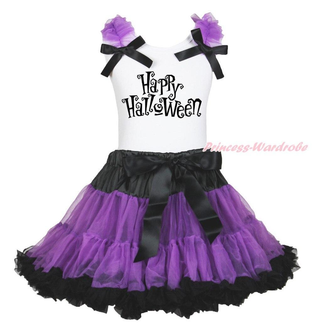 Happy Halloween White Top Shirt Purple Black Pettiskirt Skirt Girls Outfit 1-8Y MAPSA0853 halloween rhinestone cat white top dusty pink skirt girls cloth outfit set 1 8y mapsa0785