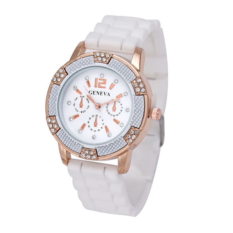 2018 Hot Sale New Women's White Rose Gold Chronograph Silicone with Crystal Rhinestones watch Drop Shipping Fashion 2 Color B5 1