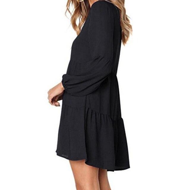 New fashion Women Solid Lantern Long Sleeve party dress V-Neck Draped Knee-Length Dress 3