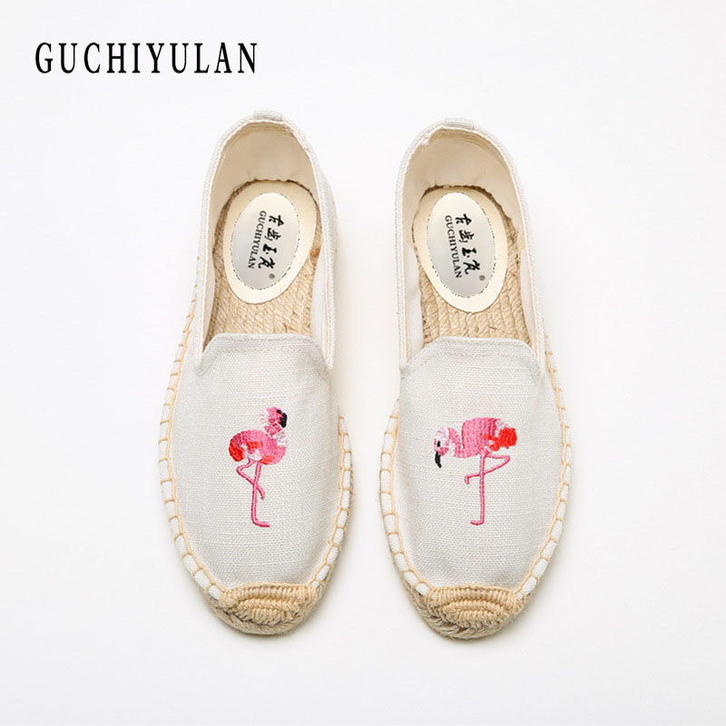 GUCHIYULAN New print Canvas Espadrilles For Women Fashion Slip-on Casual Unisex Espadrilles Women Casual Flat Shoes Plus Size etro floral print espadrilles