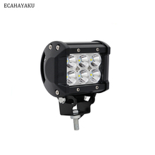 цена на ECAHAYAKU 1pcs LED 18W Work light 4 Inch Bar 24v 12V IP67 SPOT FLOOD FOR 4x4 OFF ROAD ATV TRUCK BOAT UTV 4WD fog driving light