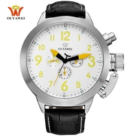 New OYW Brand White Mechanical watch Luxury automatic Men Leather Strap Band Big Fashion Military Gift Wristwatch reloj hombre