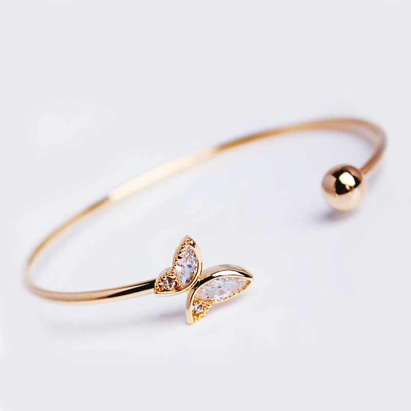 Korean Simple 1PC High Quality Gold Butterfly Crystal Alloy Opening Bangle Bracelet For Women Fashion Metal Chain Jewelry