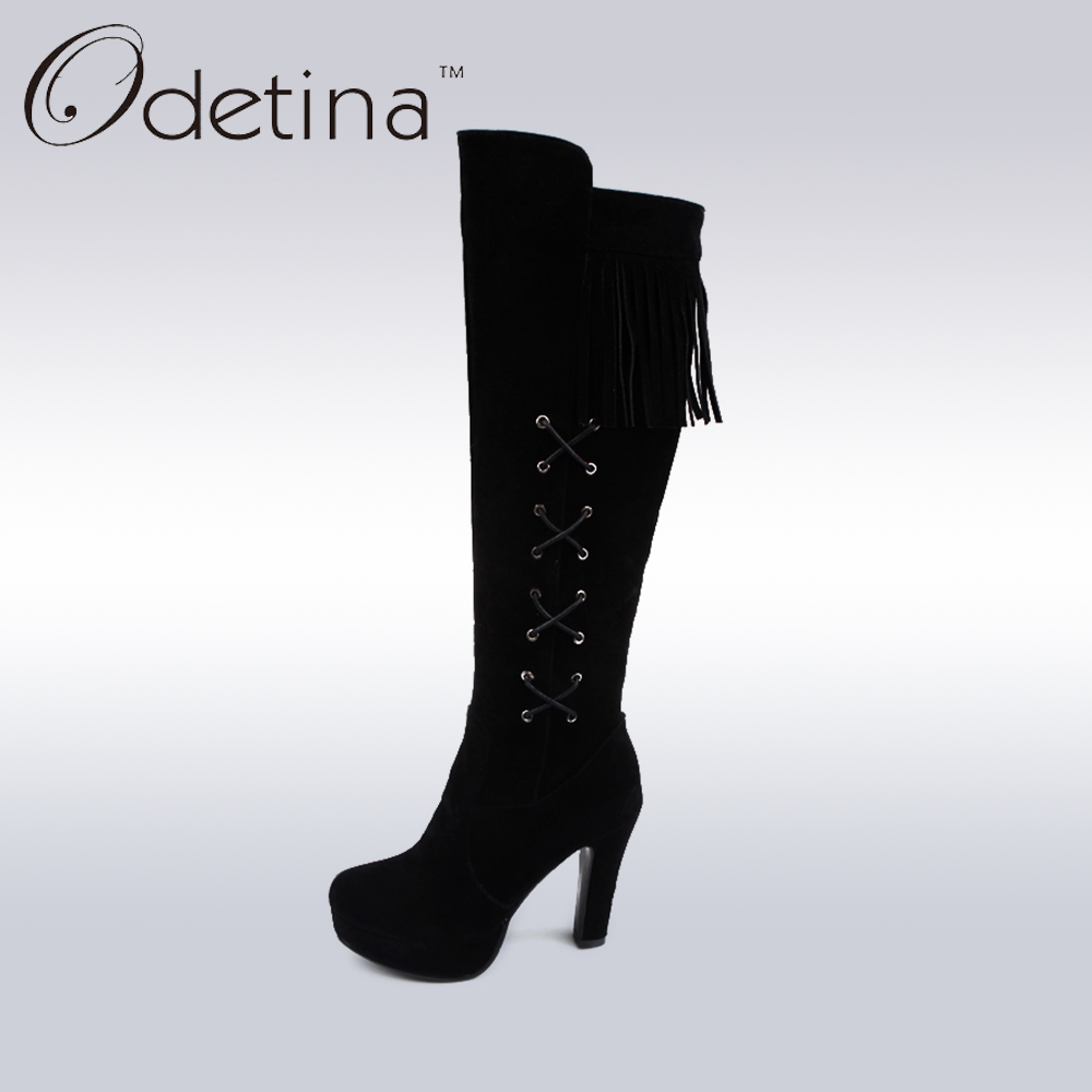 ФОТО Odetina 2016 Handmade Large Size Womens Black Suede Knee High Boots with Lace Up Tassel Zip Up High Heel Boots with Side Zipper
