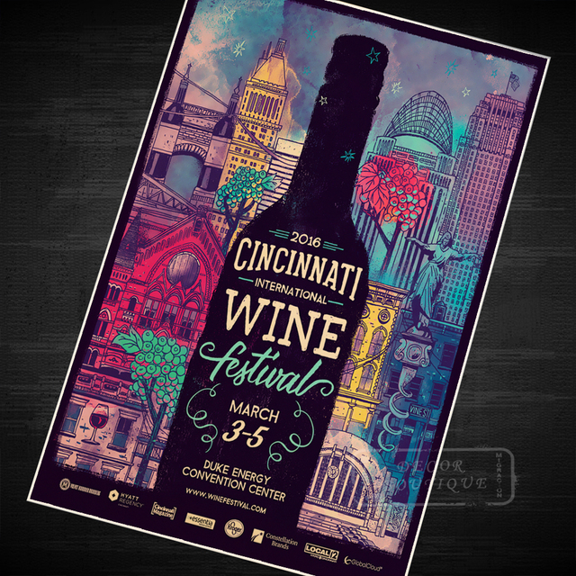Cincinnat Wine Festival Music Class Propaganda Vintage Kraft Decorative Poster DIY Wall Canvas Sticker Delicate Home